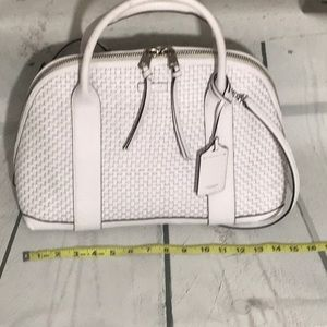 Coach white tote satchel handbag purse EUC RARE